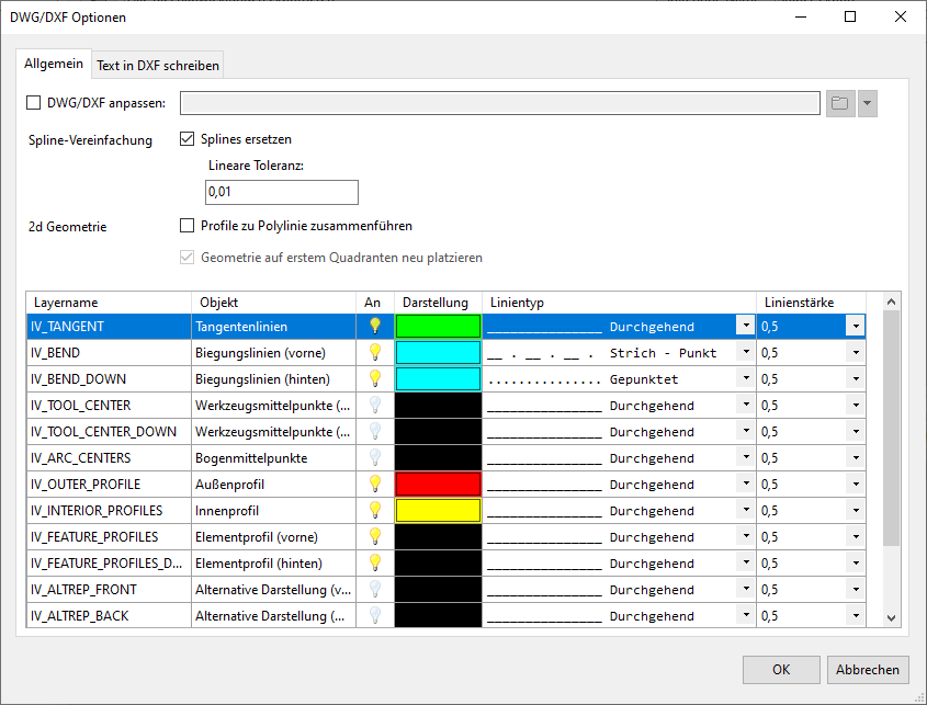 Inventor Blechabwicklung DXF-Einstellungen